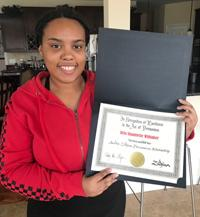 Bria Shauntelle Whitaker with her 2020 Zildjian Award
